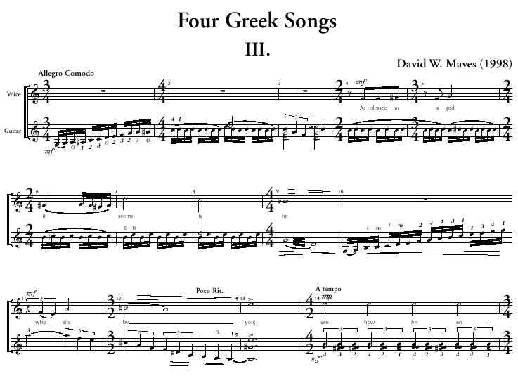 Four Greek Songs (soprano and guitar)